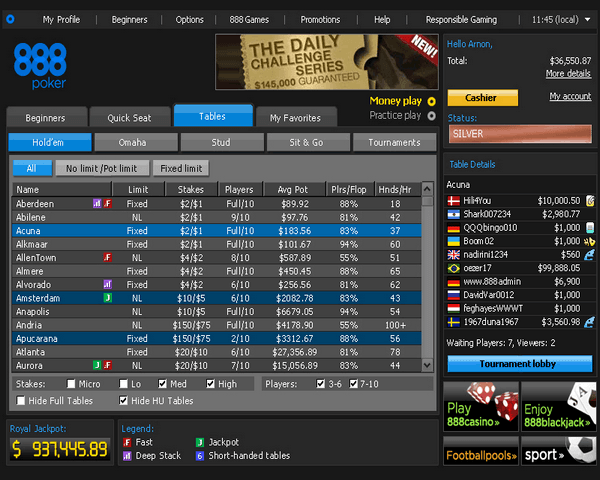 888 poker number of players