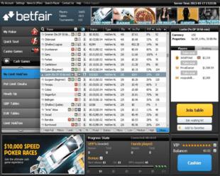 Example of Betfair Poker Main Lobby