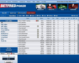 Example of Betfred Poker Room