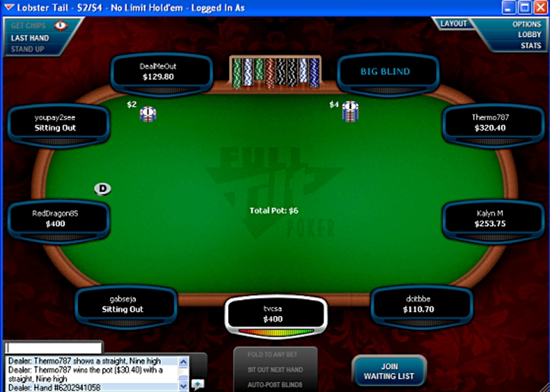 Example of Full Tilt Poker Table