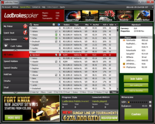 Example of Ladbrokes Poker Lobby Room